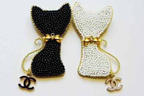 Bead Embroidered Kitties :)