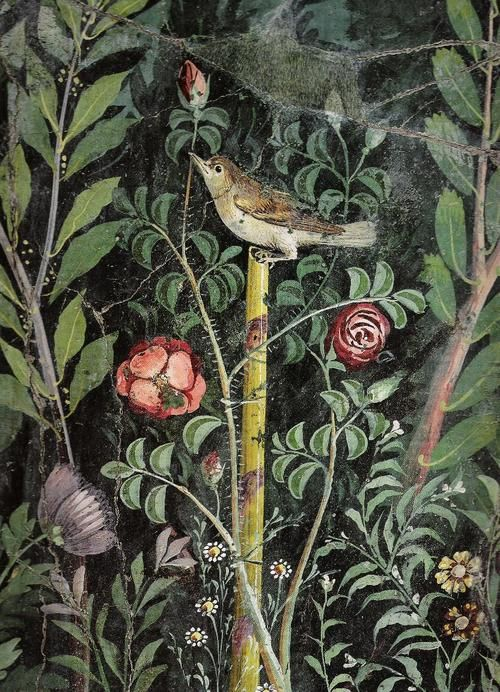#Pompeii -- Roman Fresco (detail) Excavated from 'The House of the Golden Bracelet' at Pompeii -- Belonging to the National Archaeological Museum -- Naples, Italy