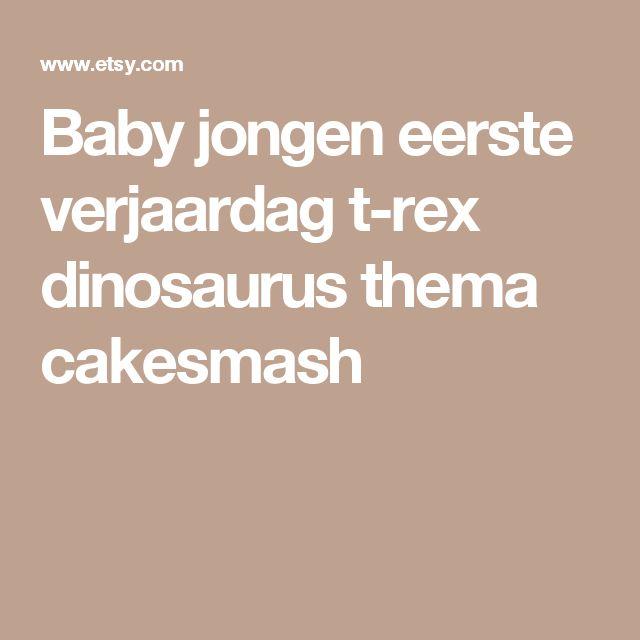 Baby jongen eerste verjaardag t-rex dinosaurus thema cakesmash