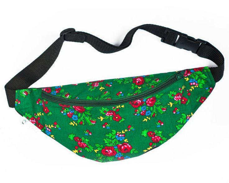 Folkowa nerka w góralskie kwiaty (zielona) (proj. Joanka-z), do kupienia w DecoBazaar.com