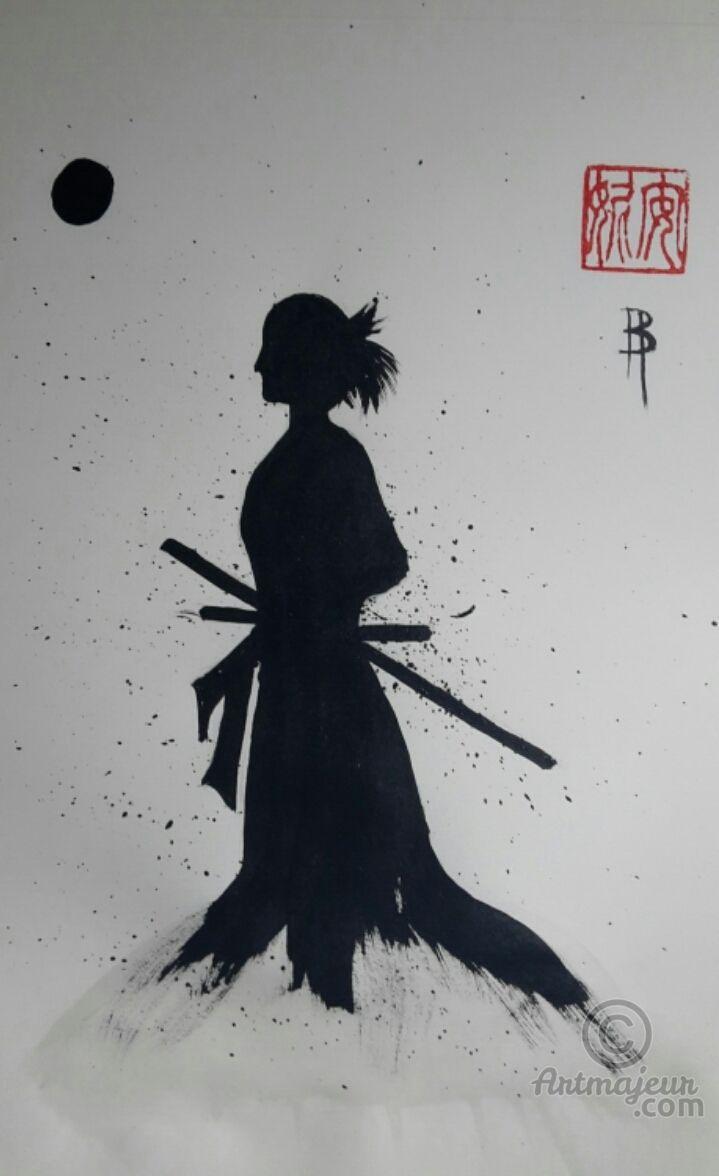 Rônin #2 - Peinture sumi-e  21x29,7 cm ©2016 par Anne Bonningue sur Papier de riz Wenzhou -                                                                                                Expressionnisme, Papier, Asie, Femmes, Noir et blanc, Cultures du monde, Sumi-e, arts martiaux, encre de chine, Anne Bonningue, peinture japonaise, rônin, japon  #sumie #inkpainting #ink
