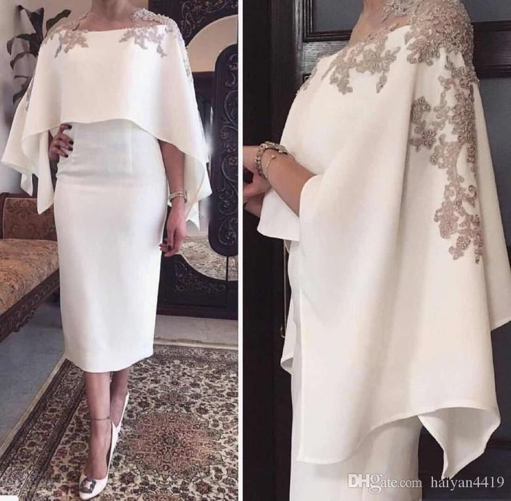 2018 Mermaid Mother Of The Bride Dresses Jewel Neck Gray Lace Appliques Beaded With Wrap Short Tea Length Party Evening Wedding Guest Gowns