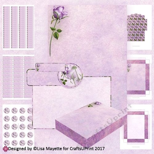 "This A6 stationery kit features a purple rose on a soft background. The kit includes A6 letter writing paper, 80 Return Address Labels, 30 Mailing Labels, 20 print ready Envelope Seals, and a gift box that you can assemble to put it all in.    The Return Address Labels fit Avery template 5167, Mailing Labels will fit template 5160 and the Envelope Seals fit template 8293. I spaced the labels using an 8.5x11"" guide, because those are the dimensions used by Avery for their sheets, and then..."