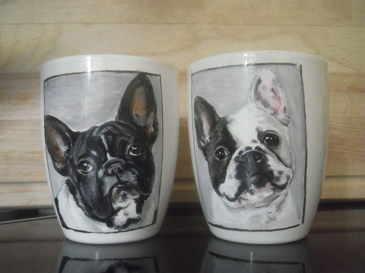 customized mugs hand painted French Bulldog mugs !