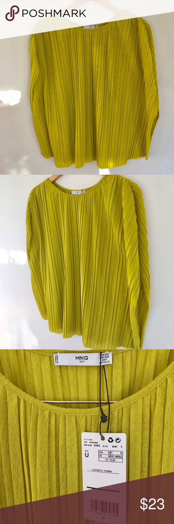 """Mango pleated top Gorgeous chartreuse color top from Mango (sold out). 95% poly 5% elastane provides stretch. Shirt is 'one size' so works on different body types. Side length 11.42"""" back length 21.65"""" Mango Tops"""