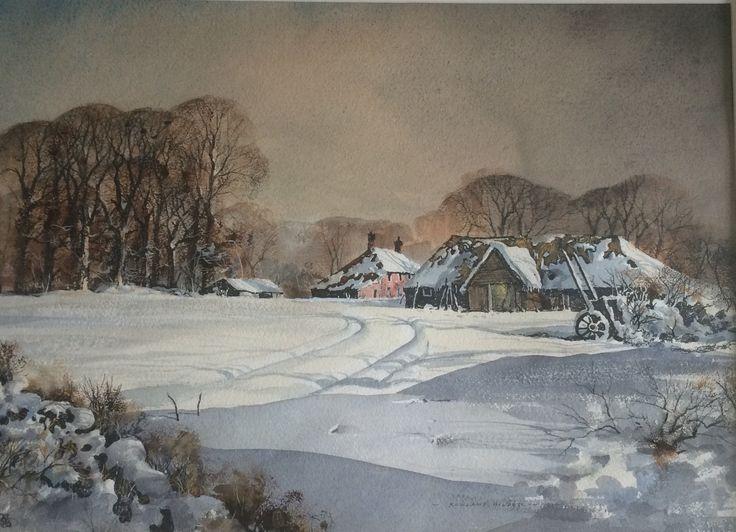 First Snow by Rowland Hilder OBE  Copyright remains with the artist's estate.  #rowlandhilder