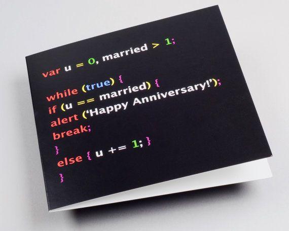 anniversary card, geek anniversary, geek couple, javascript, developer, software, computer geek, unique card, valentine, wedding anniversary