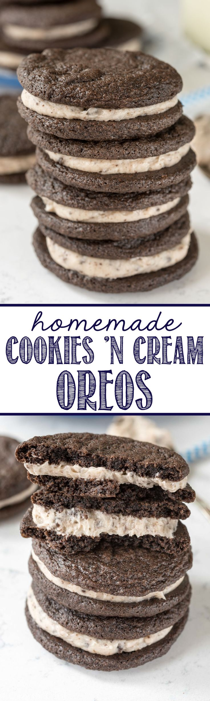 Homemade Cookies 'n Cream Oreos - this easy recipe is completely from scratch! Make soft homemade Oreos and fill them with a cookies 'n cream filling!