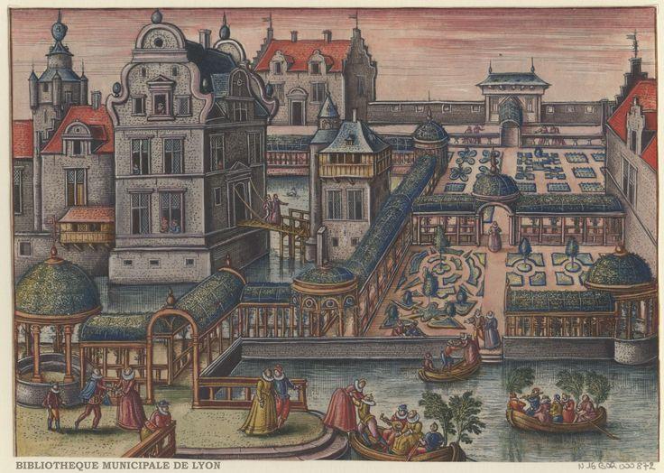 Garden at the water's edge by Peeter van der Borcht, 16th century. Bibliothèque Municipale De Lyon, Public Domain