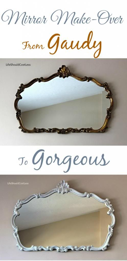 Mirror Make-Over, From Gaudy to Gorgeous. For those of us that aren't fans of yellow gold, it's nice to know we have options. {lifeshouldcostless.com}