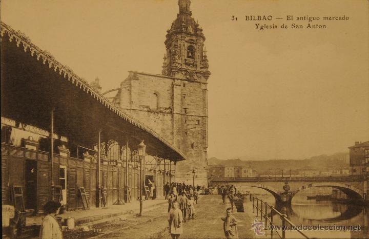 BILBAO - ANTIGUO MERCADO IGLESIA SAN ANTON - FOTOGRAFIA IMPRESA SIN CIRCULAR Y DORSO DIVIDIDO - Foto 1