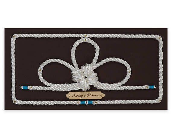 Handcrafted Nautical Decor- AshleysFlower/decorative knot/rope wall art/knot tying art/handmade gift/nautical nursery/home decor/art on wood