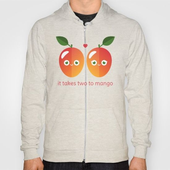 It Takes Two to Mango Hoody - pun, puns, mango, mangos, tango, dance, fruit, food, funny, cute, love, relationship, tasteful, tasty, relationships, valentine, valentines, vector, art, illustration, drawing, design
