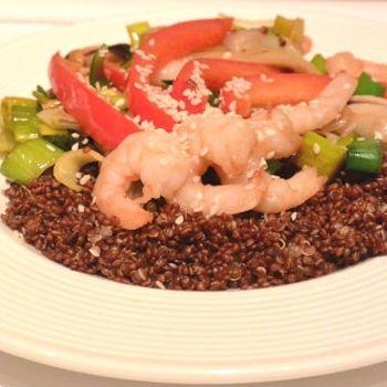 Rode quinoa met garnalen ♥ Foodness - good food, top products, great health