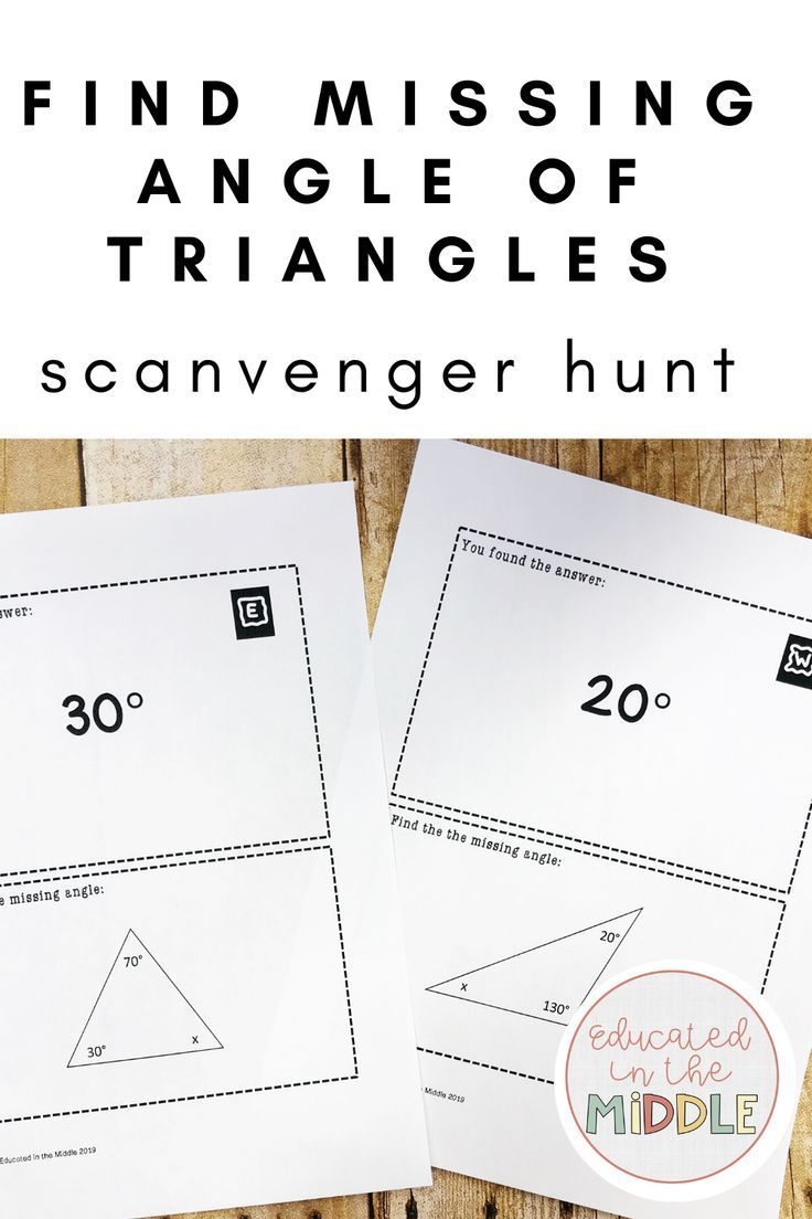 Find Missing Angle Of Triangles Activity Triangles Activities Math Geometry Activities Math Geometry