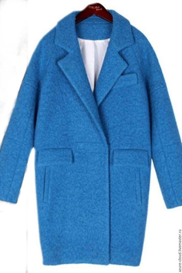 Купить пальто оверсайз - голубой, однотонный, пальто из шерсти, пальто оверсайз, пальто короткое