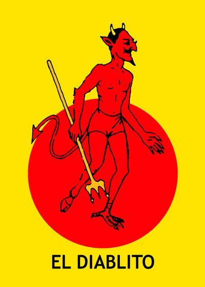 El Diablito Mexican Loteria Art Print  By: minervatorresguzman
