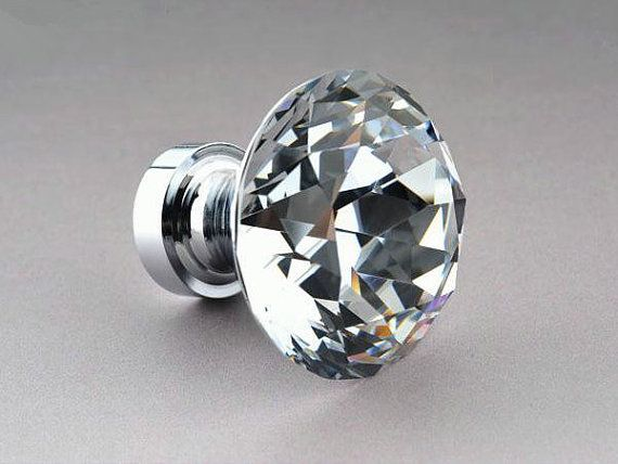 "1 2"" Glass Knobs Dresser Knob Clear Crystal Drawer"