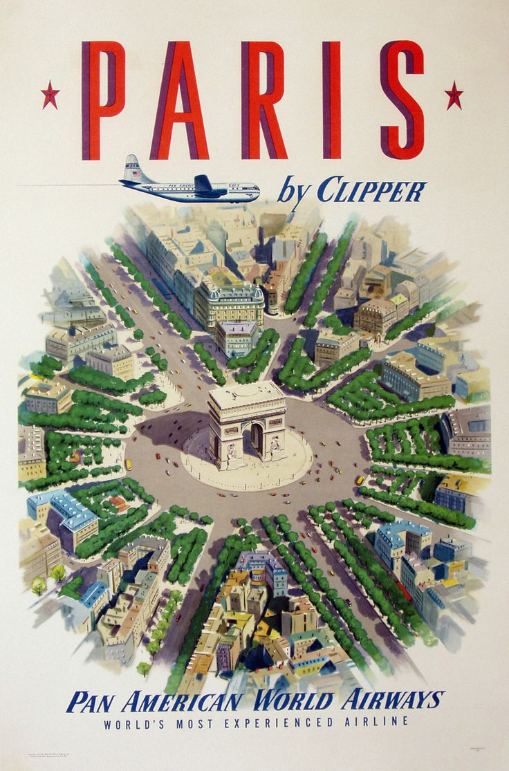 Early Pan Am promo - visit Paris by Clipper poster. One of a series promoting the latest passenger planes Pan Am had to offer