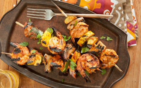Tandoori-Style Shrimp & Veggie Kabob for grill or broil in oven. Whole Foods recipe.