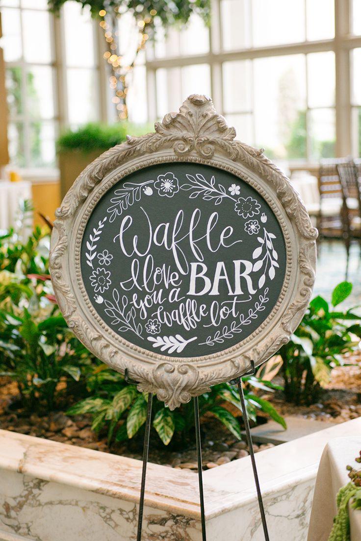 pretty wedding chalkboard sign for a waffle bar