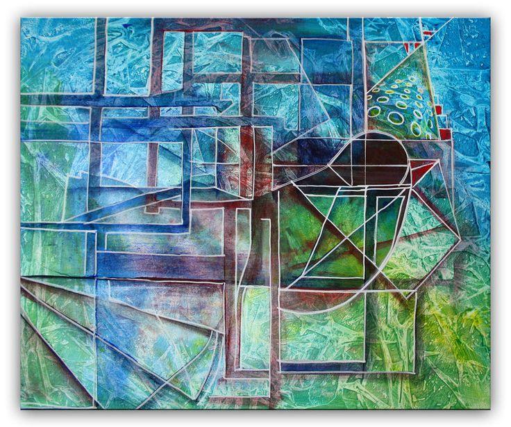 Burgstaller Vogel abstrakt Original Gemälde Malerei handgemaltes Acrylbild 50x60