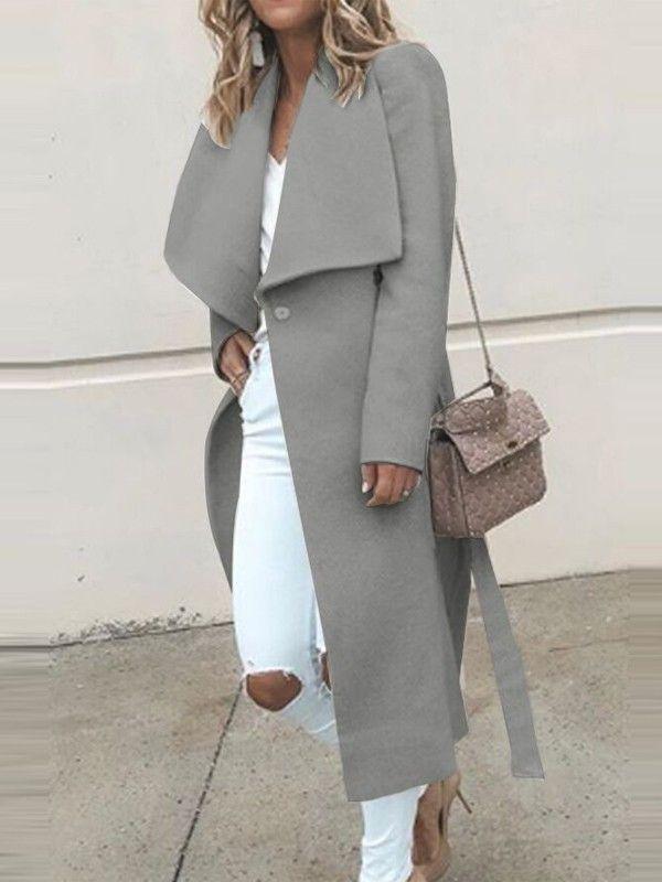 Manteau en laine à ceinture