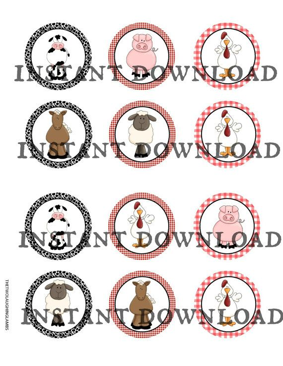 INSTANT DOWNLOAD Farm Cupcake Toppers DIY by TwoLaughingLambs, $2.50
