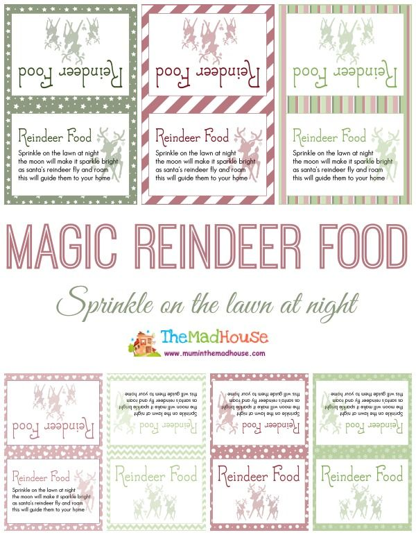 Magic reindeer food printables - a choice of seven fab free printables and sweet poem from Mum in the Mad House