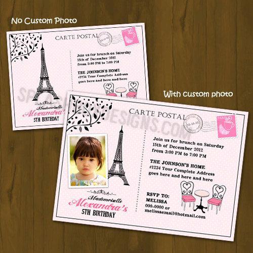 Paris Themed Birthday invitation  French by SplashboxPrintables, $10.00