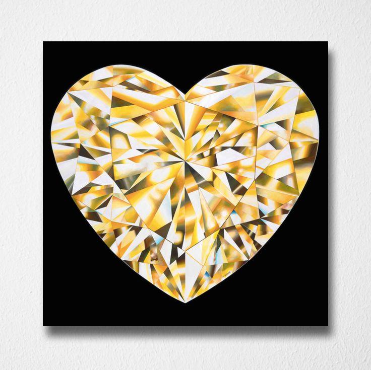 Heart of Gold (Canvas print) by Reena Ahluwalia. Fancy Vivid Yellow Heart shaped Diamond. Starts from 295.00. #FancyColorDiamonds #DiamondPaintings #DiamondArt #ReenaAhluwalia #YellowDiamond #HeartShapedDiamond #HeartShaped #Diamonds