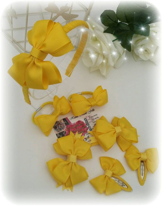 Yellow School Uniform 7pcs Headband Set Bundle by handmadefrillsuk