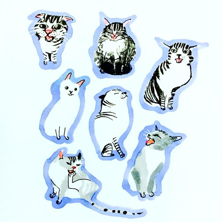 Cats in serene colour by Marie Åhfeldt, Mås Illustra. www.masillustra.se #cat #illustration #drawing #masillustra