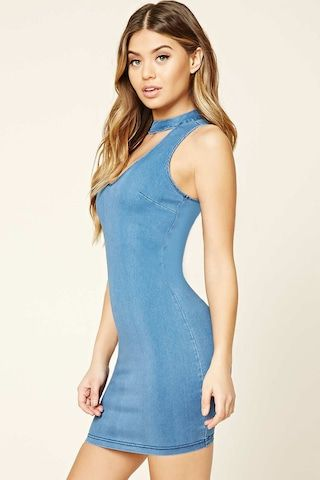 High Neck Denim Bodycon Dress - Women - New Arrivals - 2000321706 - Forever 21 Canada English