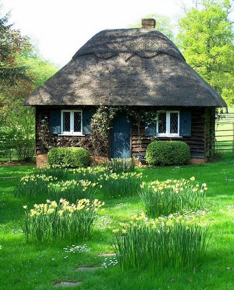 Thatched roofs, as seen in this adorable example, are one of the hallmarks of storybook homes. Thatching methods are used all over the world but are most closely associated with the countryside of the United Kingdom. Over 250 roofs in Southern England have coats of thatch that were applied over 500 years ago!