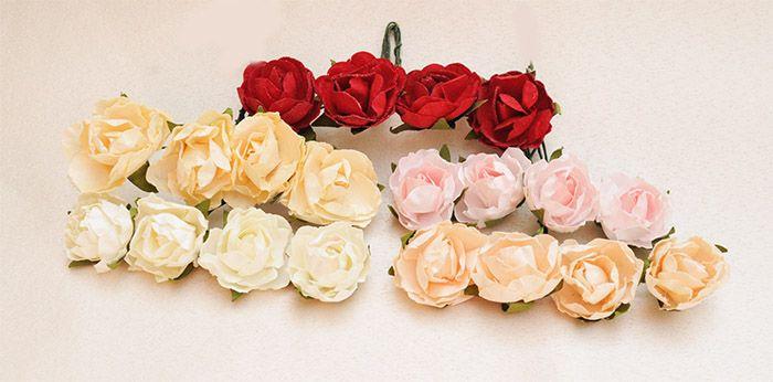 Różyczki Róze Papierowe na druciku 3,5 cm - 4 cm 4szt. / Paper rose Wedding Decorations