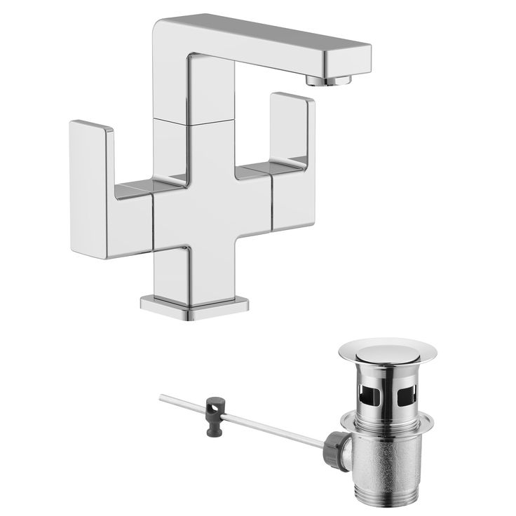 Cooke & Lewis Lincoln 2 Lever Basin Mixer Tap | Departments | DIY at B&Q