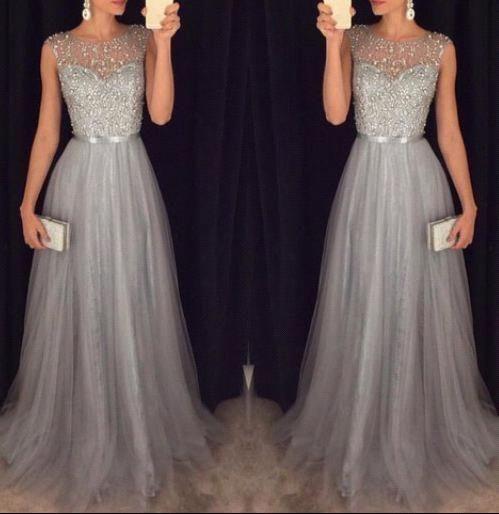 Elegantes Abendkleider Silber Lang Günstig Tüll Perlen Abendmoden Abiballkleide Modellnummer: JJ0014-BA4581