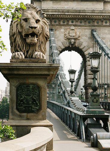 Uno de los cuatro leones de la cadena de Szechenyi, Budapest-quieren obtener una imagen de uno de estos si se visita Budapest