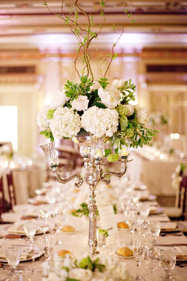Tall white wedding centerpiece head tables and