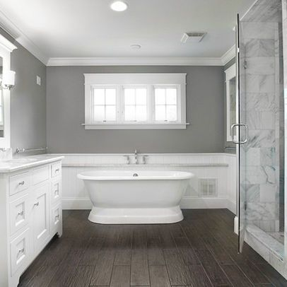 I Must Do Faux Wood Tile. Faux Wood Tile, Gray Walls, Marble Tiles In  Shower But Black/wood Vanity Gorgeous Master Bath   Traditional   Bathroom  ...