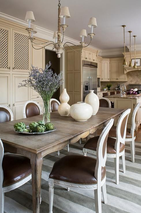 French Dining Table with Cabriolet Legs and Round Back Dining Chairs, Transitional, Dining Room