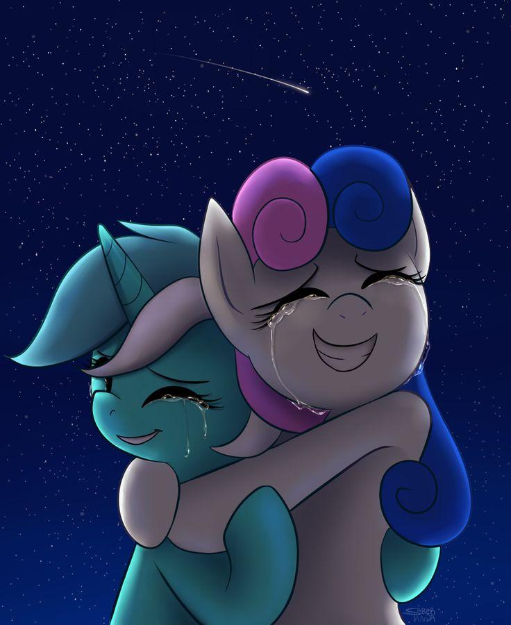 #935723 - artist:saber-panda, best friends, bon bon, crying, eyes closed, grin, hug, lesbian, lyrabon, lyra heartstrings, night, safe, shipping, shooting star, smiling, sweetie drops, tears of joy - Derpibooru - My Little Pony: Friendship is Magic Imageboard