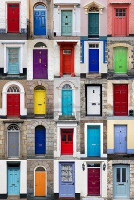 A photo collage of 25 colourful front doors to houses and homes Stock Photo