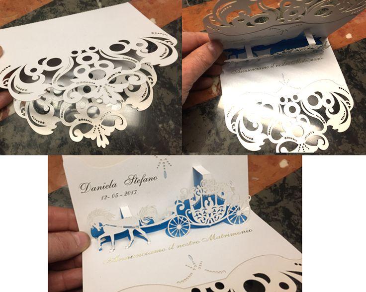 Wedding card invitation pop-up Carrozza Esposizione fiera degli sposi 2017 Bergamo