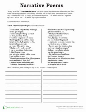 Third Grade Poetry Worksheets: Narrative Poetry