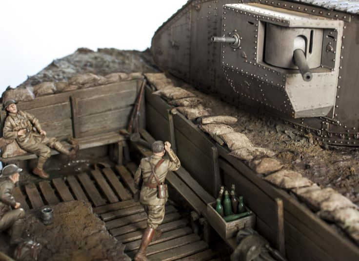 https://flic.kr/p/srL4DA | WW1 Tank and Troops in trench | British troops' first encounter with a tank. 1/35 Modified Emhar MkIV and Tamiya Figures and accessories.