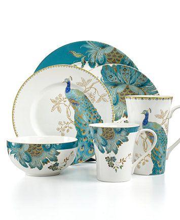 222 Fifth Dinnerware Eliza Teal & Peacock Garden Mix & Match Collection | macys.com