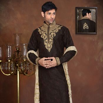 Black Art Silk Readymade Kurta with Churidar