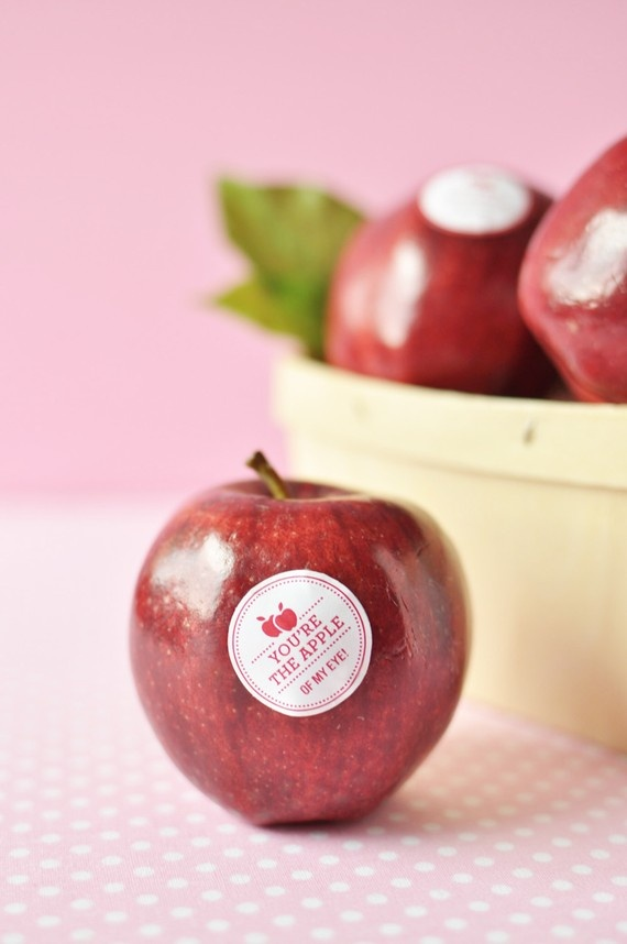 Valentines Day Fruit Stickers by Twig & Thistle